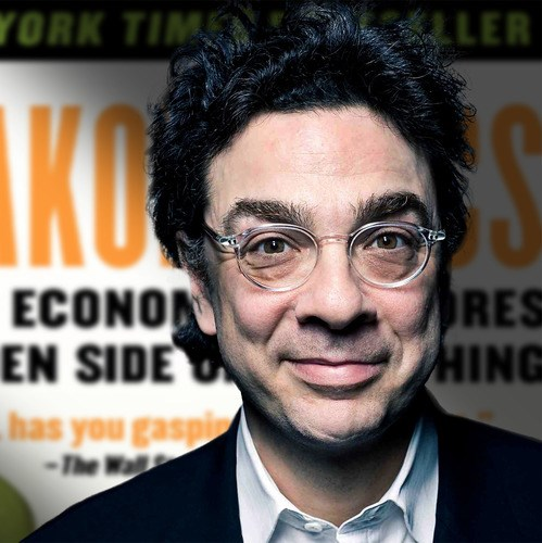 Stephen Dubner infront of his freakonomics book